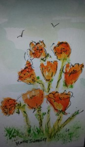 Orange Poppies On Parade
