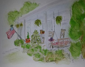 JULY front porch with flag